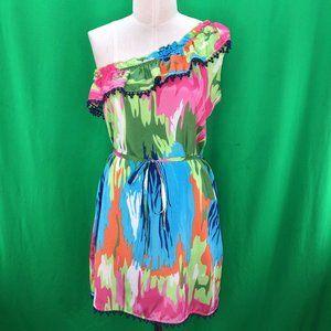 Mud Pie L Multicolor One Shoulder Ruffle Dress